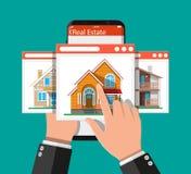 Smart telefon för mobil med fastigheten app stock illustrationer