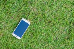 Smart telefon för pekskärm på fältet av gräs Arkivbilder