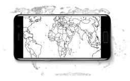 smart telefon Smart telefon för realistisk mobiltelefon med den tomma skärmen som isoleras på bakgrund Vektorillustration för uts Royaltyfri Fotografi
