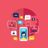Smart telefon för social nätverksbegreppsmobil med anförandebubbla- och affärssymbolsInfographic beståndsdelar vektor illustrationer