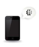 Smart telefon Hashtag royaltyfri illustrationer