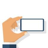 Smart telefon i manhand vektor illustrationer