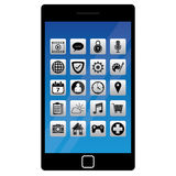 Smart telefon med applikation royaltyfri illustrationer