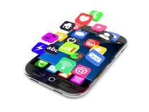 Smart telefon med applikationsymboler vektor illustrationer