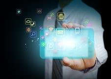 Smart telefon med applikationsymboler stock illustrationer