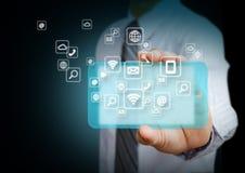 Smart telefon med applikationsymboler Fotografering för Bildbyråer