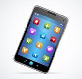 Smart telefon med den blåa skärmen och symboler royaltyfri illustrationer