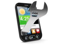 Smart telefon med den justerbara skiftnyckeln vektor illustrationer