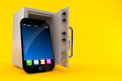 Smart telefon med det öppna kassaskåpet stock illustrationer