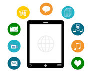 Smart telefon med färgrika symboler Arkivfoton