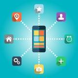 Smart telefon med färgsymbolsuppsättningen Royaltyfri Fotografi