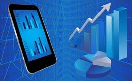 Smart telefon med finansiell bakgrund Arkivfoton