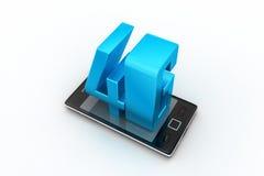 Smart telefon med 4G Arkivbilder