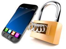 Smart telefon med hänglåset vektor illustrationer
