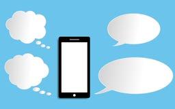 Smart telefon med illustr för vektor för design för anförandebubblalägenhet modern vektor illustrationer