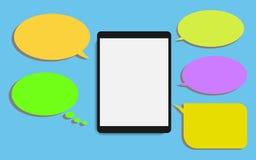 Smart telefon med illustr för vektor för design för anförandebubblalägenhet modern Arkivbild