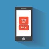 Smart telefon med köpknappen på skärmen stock illustrationer