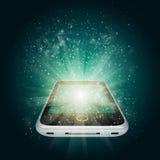 Smart telefon med magiska ljusa och fallande stjärnor stock illustrationer