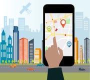 Smart-telefon med mobil navigering Arkivbild