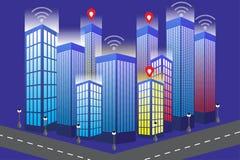 Smart telefon med modern desighn för isometrisk stad av byggnad stock illustrationer