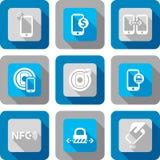 Smart telefon med NFC-teknologisymbolen royaltyfri illustrationer