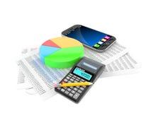 Smart telefon med rapporten och pajdiagrammet stock illustrationer