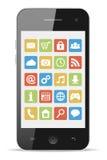 Smart telefon med symboler Fotografering för Bildbyråer