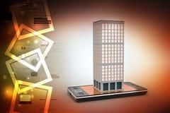Smart telefon och byggnad med fastigheten stock illustrationer