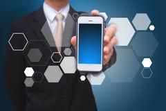 Smart telefon- och polygonbakgrund royaltyfri bild