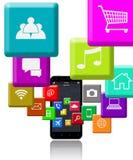 Smart telefon och program Arkivfoton