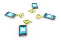 Smart telefon och trådlös teknologi Arkivbild