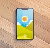 Smart telefon på trätabellen Fotografering för Bildbyråer