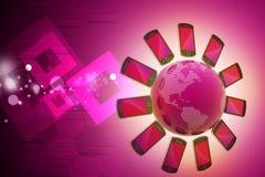 Smart telefon runtom i världen Royaltyfria Foton