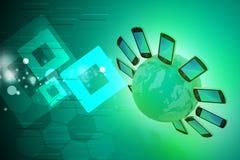 Smart telefon runtom i världen Arkivbild