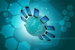 Smart telefon runtom i världen Arkivfoto