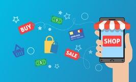 Smart telefon som direktanslutet shoppar Stock Illustrationer