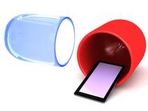 Smart telefon som kommer ut ur en kapsel Fotografering för Bildbyråer
