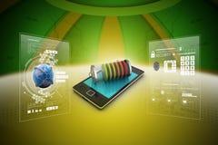 Smart telefon som laddar med batteriet vektor illustrationer