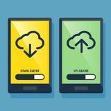 Smart telefon som nedladdar och laddar upp symbolen royaltyfri illustrationer