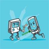 Smart telefon Vs den gamla modiga konsolen stock illustrationer