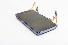 Smart telefonbränning Fotografering för Bildbyråer