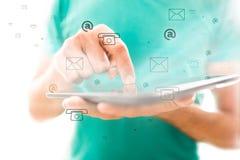 Smart telefonkontakt- och kommunikationsbegrepp Royaltyfria Bilder