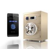 Smart telefonlegitimation app låser ett guld- metallkassaskåp upp Royaltyfri Bild