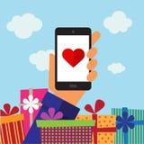 Smart-Telefonmobile, -herz und -geschenke Stockfoto