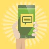 Smart telefonpratstund Arkivbild