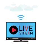 Smart television genom att använda en levande ström royaltyfri illustrationer