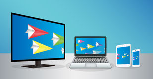 Smart Television Laptop Smartphone And Tablet transfering data Royalty Free Stock Photos
