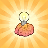 Smart Think Brain Idea Illustration with Power. Vector Illustration of a brain with lightbulb plugged into it. Conceptual representations include: brain storm Royalty Free Stock Image