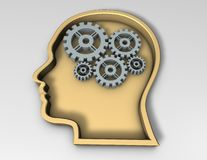 Smart thinking concept with face silhouette Royalty Free Stock Photos
