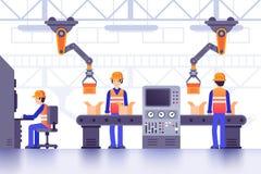 Smart tillverkningfabrikstransportör Modern industriell tillverkning, dator - kontrollerade fabriksmaskiner fodrar vektorn royaltyfri illustrationer